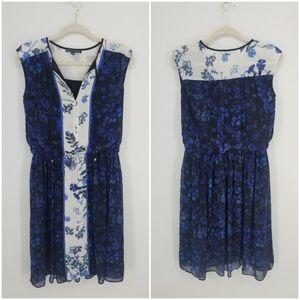Adrianna Papell Floral Chiffon Blouson Dress Sz XS